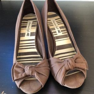 Open toe cork wedge shoes